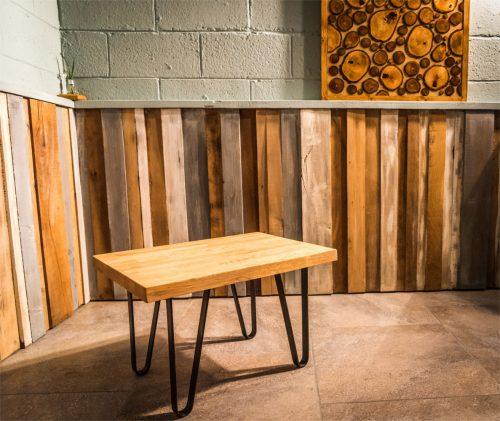 Solid Oak Coffee table with steel legs