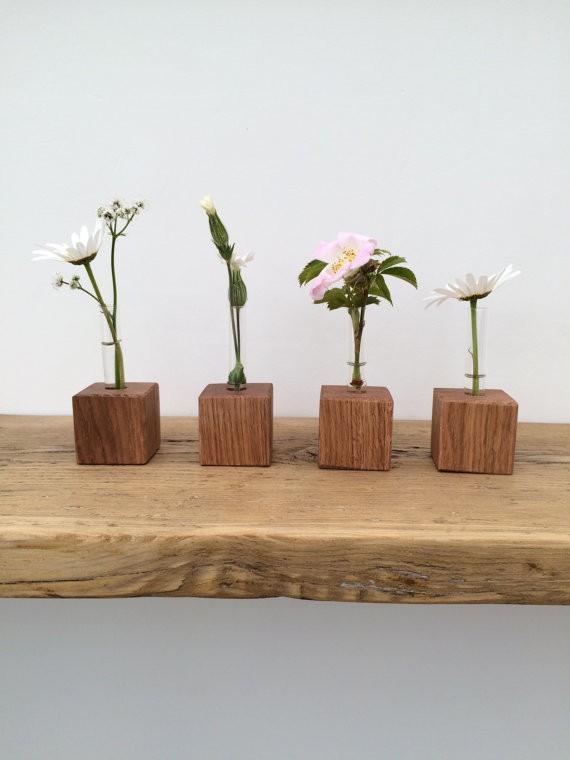 Solid Oak Base Handmade Test Tube Vase Solid Oak Designs