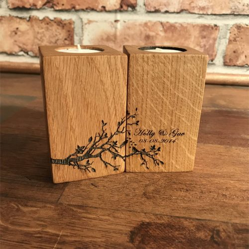 Personalised oak Tea light Blocks