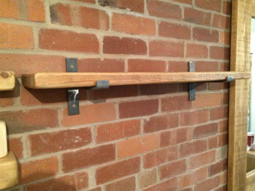Reclaimed shelf 38mm x 215mm with steel brackets