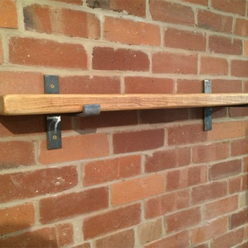 Reclaimed shelf 38mm x 215mm with steel brackets