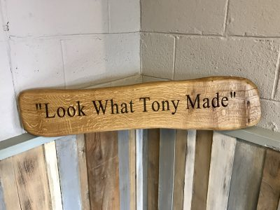 'Look what Tony Made' Oak engraved beam