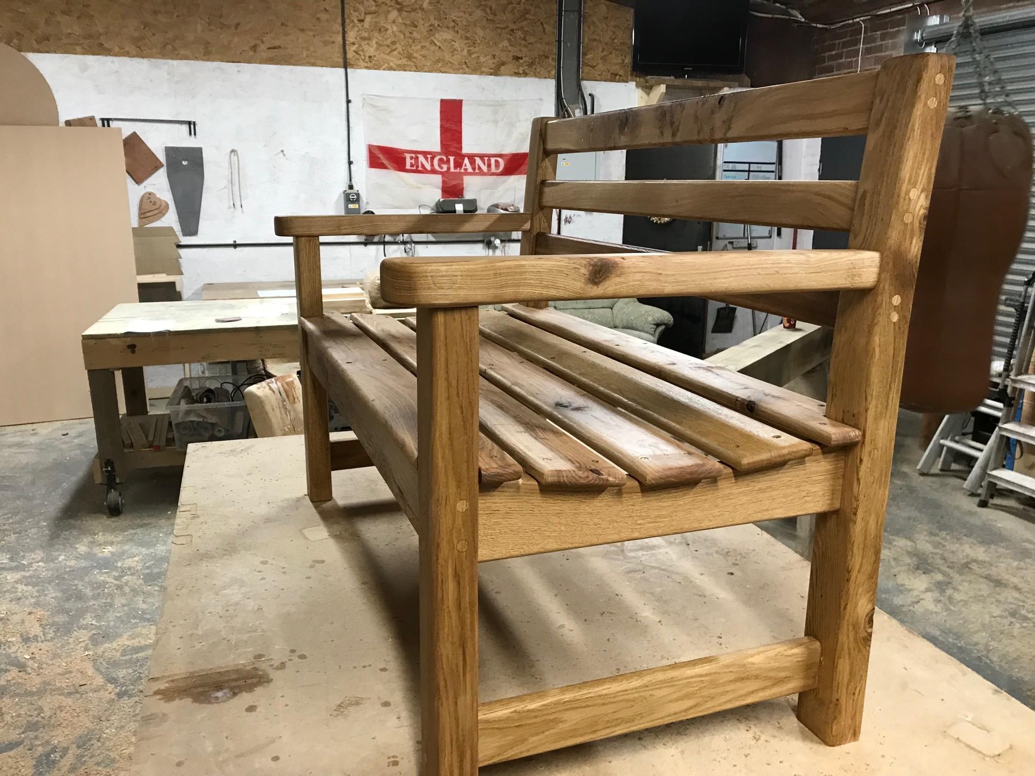 Oak Handcrafted Memorial Bench | Solid Oak Designs
