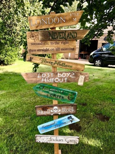 Hand painted Peter Pan inspired Direction sign