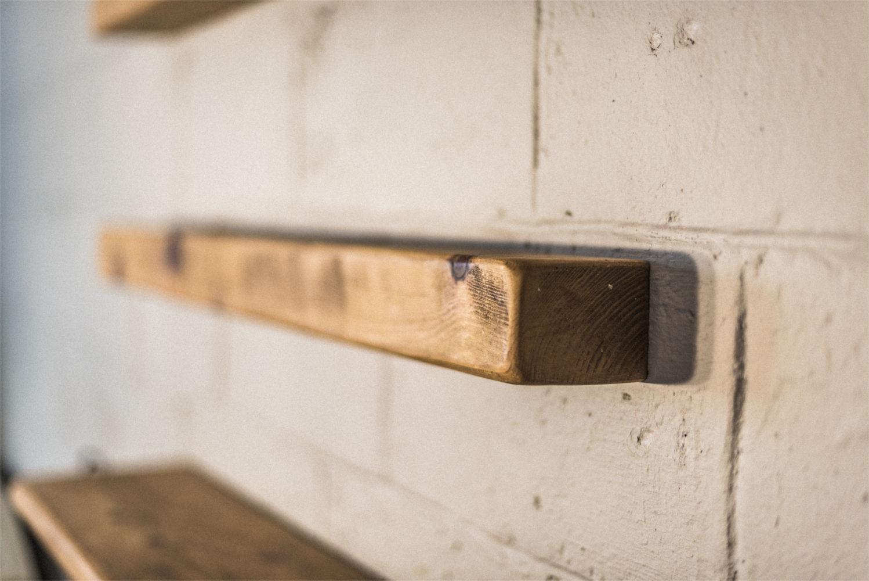 reclaimed rustic floating shelf 40mmx130mm