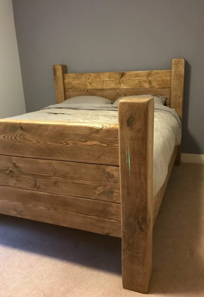 Solid Oak hand crafted Bed with 'Glow in the dark' Resin