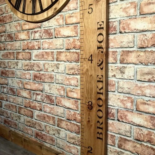 Solid Oak Personalised Childs Giant Ruler Growth/ Height Chart
