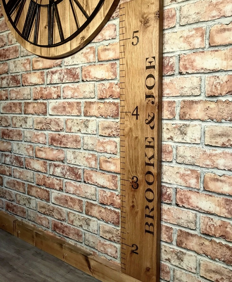 Solid Oak Personalised Childs Giant Ruler Growth Height Chart