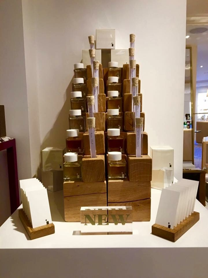 Solid oak custom made perfume stand used for display in Fortnum and Masons London | Solid Oak Designs