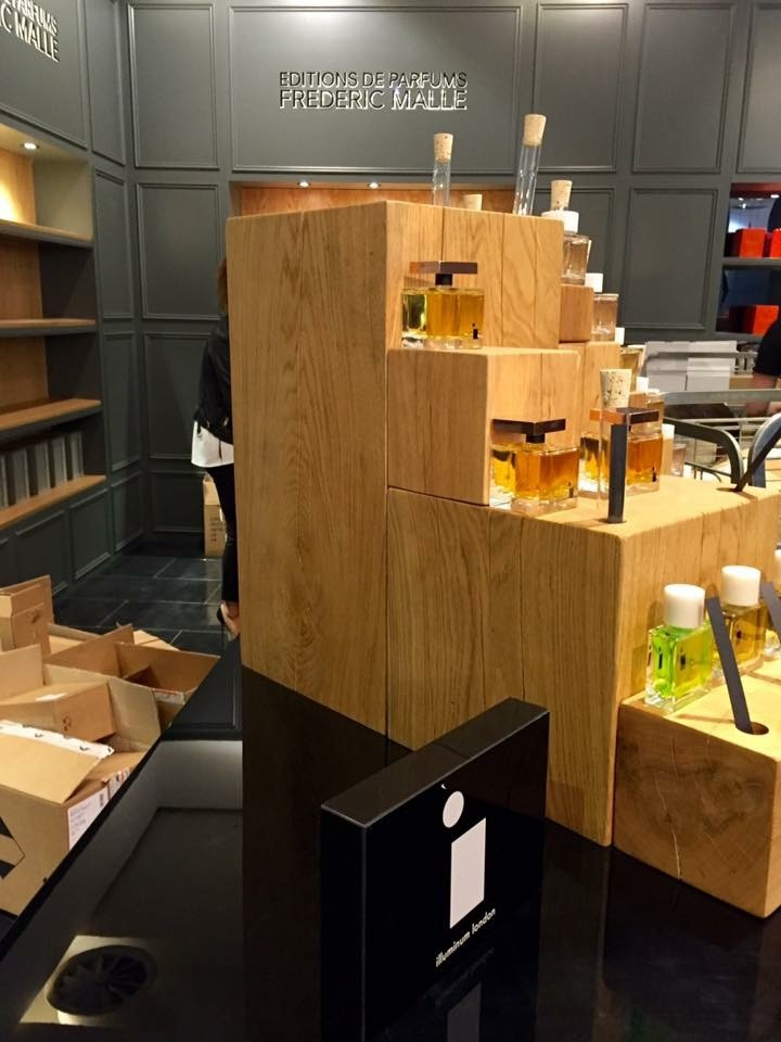 Solid oak custom made Perfume Stand for Display in Selfridges London.