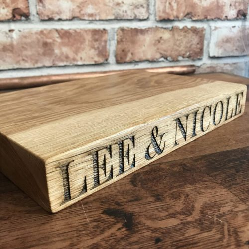 Solid Oak Small Personalised Edge Chopping Board.