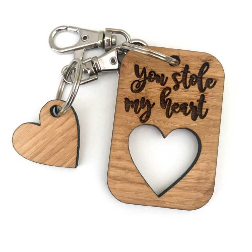 "Solid Oak ""you stole my heart' Keyring 