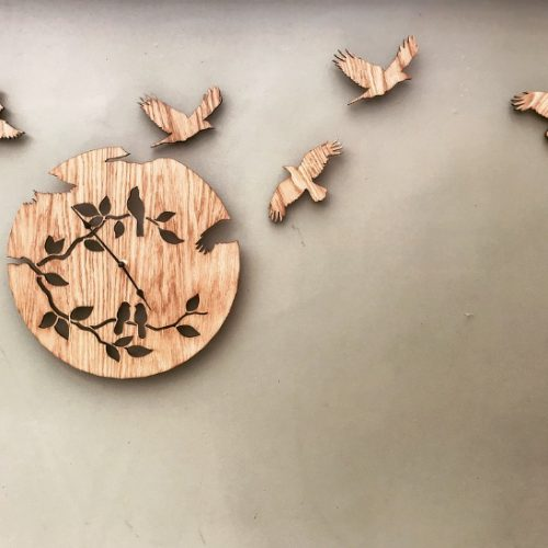 Oak Statement Bird Wall Clock