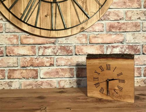 Bespoke clock made from oak section with Bark.