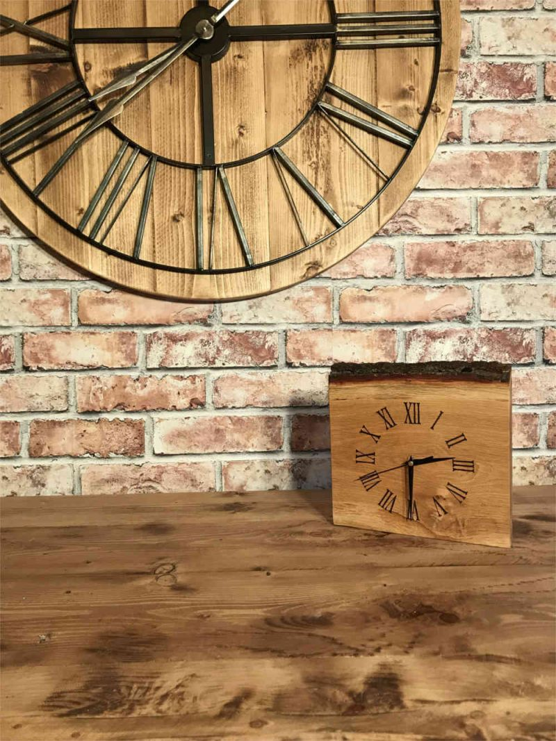 Bespoke clock made from oak section with Bark | Bespoke and Commissions | Solid Oak Designs