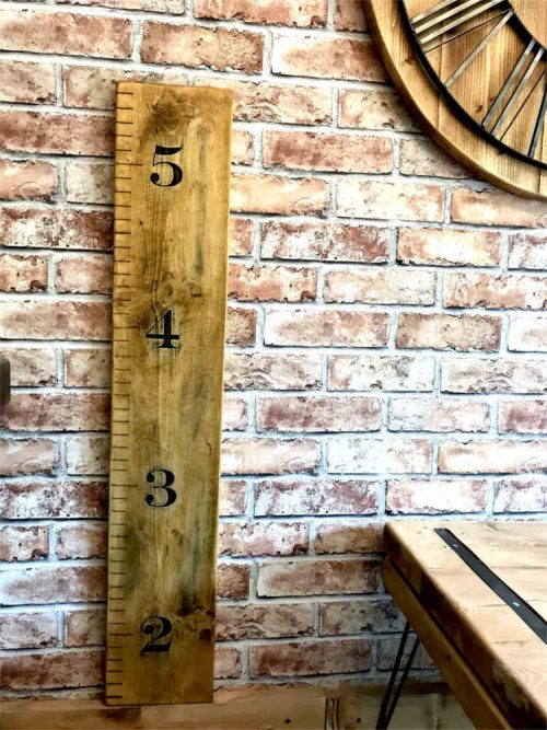 Rustic Personalised Childs Giant Ruler Growth Height Chart | Solid Oak Designs