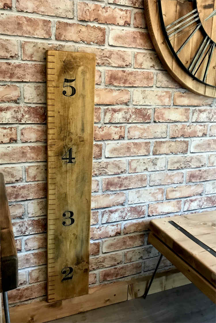 Rustic Personalised Childs Giant Ruler Growth Height Chart Solid