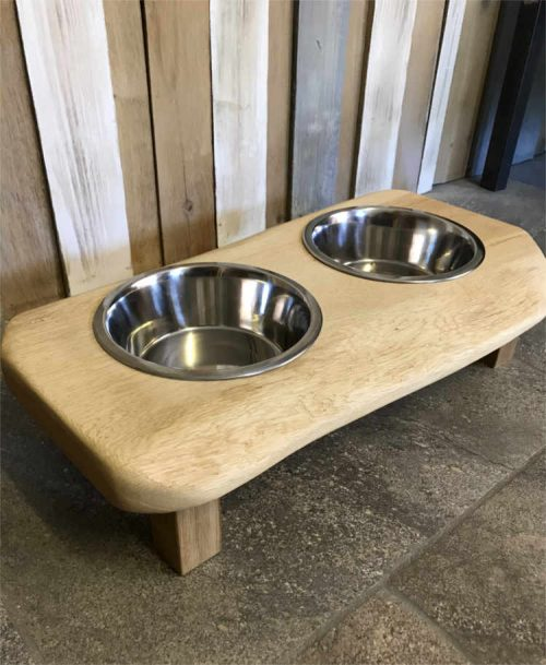 Solid oak raised Dog bowl with waney 'natural' edge | Solid Oak Designs