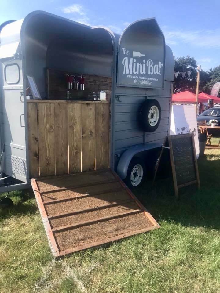 Outside the Mini Bar, fully renovated Horse box into mobile bar | Solid Oak Designs