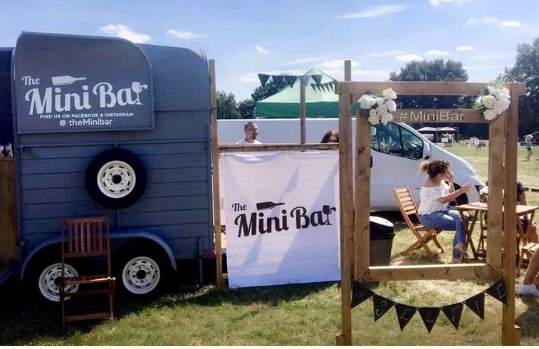 Seating area-The Mini Bar, fully renovated Horse box into mobile bar | Solid Oak Designs
