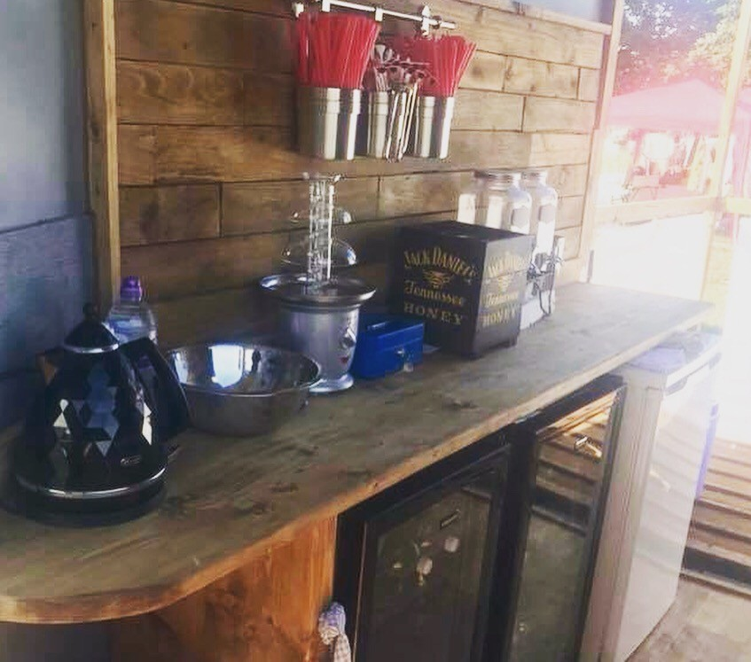 Solid Oak counters The Mini Bar, fully renovated Horse box into mobile bar | Solid Oak Designs